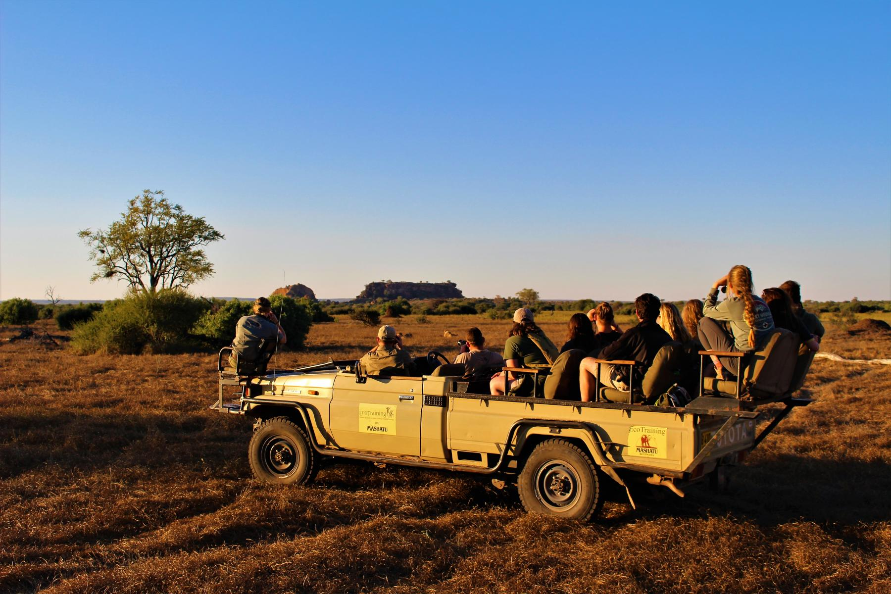 Students on a safari in Botswana..