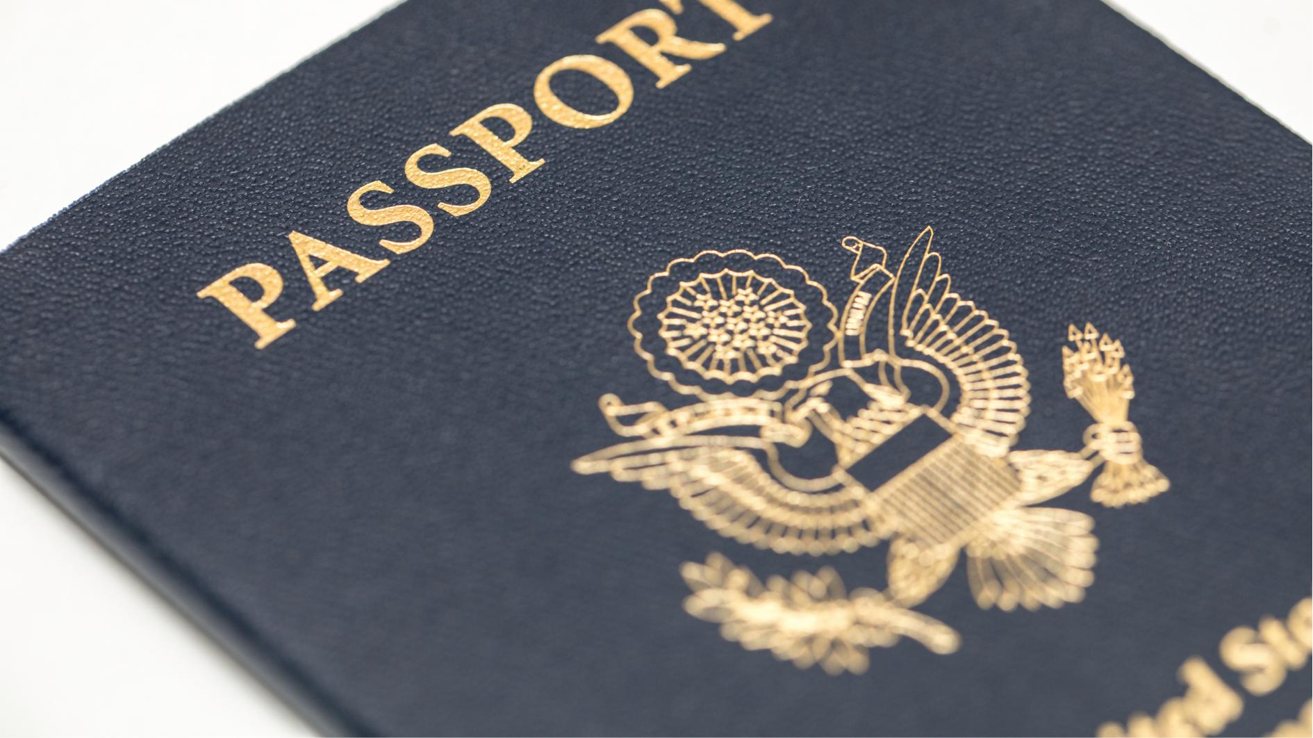 Blue U.S.A. passport book.
