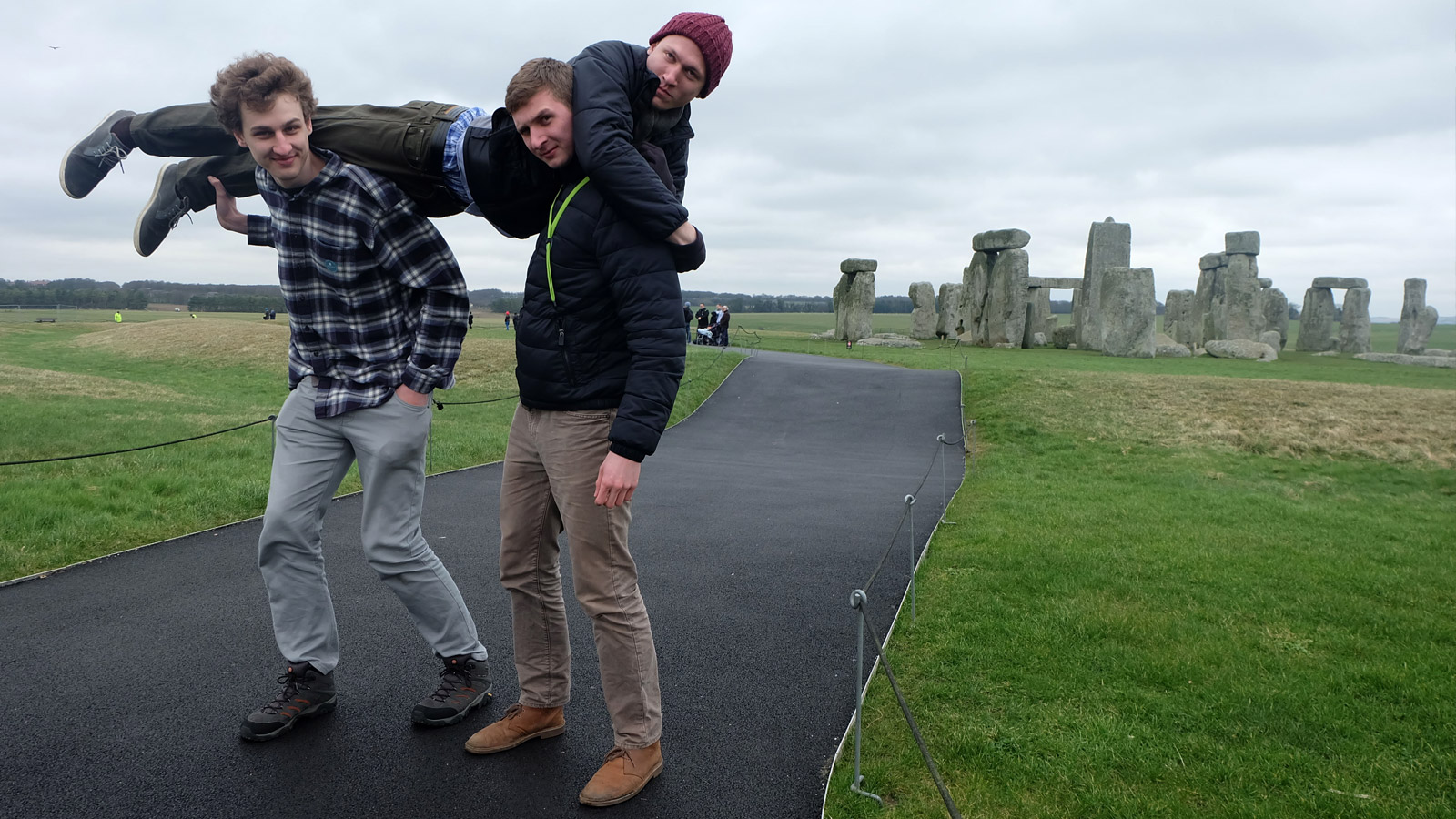 students at Stonehenge